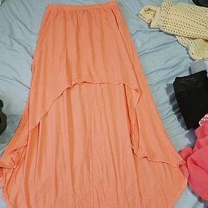 Coral colored Hi-lo maxi skirt